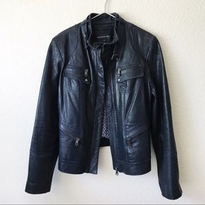Andrew Marc | Leather Moto Zip Jacket Sz L